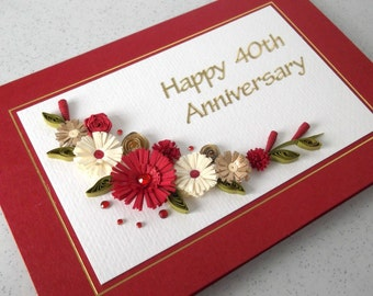 Quilled 40th ruby wedding anniversary card, handmade, paper quilling