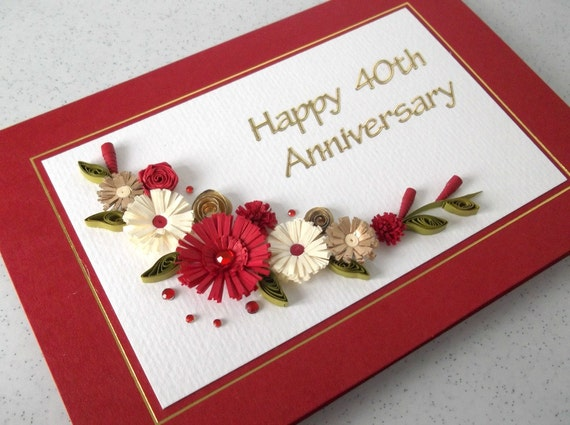 Quilled 40th Ruby Wedding Anniversary Card Handmade Paper