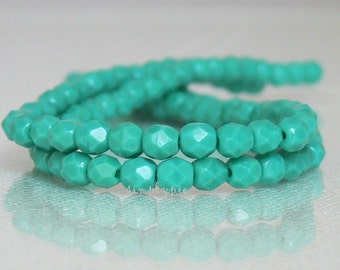 Persian Turquoise, Czech Beads Fire Polished 4mm 50 Faceted Round GLass