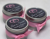 12 Custom Wedding Favor Tins - Bridal Shower Favors - Personalized Stickers - Love is Sweet - Chalkboard Stickers - 4 oz Metal Tins