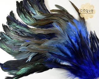 120pcs+- Rooster Coque Feathers Assortment, sadle, schlappen, and tail, three different types of rooster feathers- BLUE
