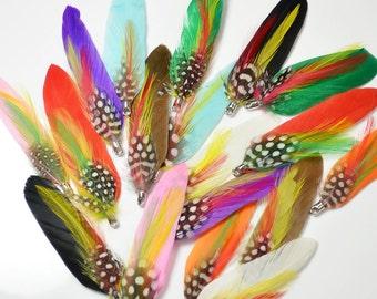 2pcs Feather Pendents, duck, guinea, coque, metal clasp attachment,