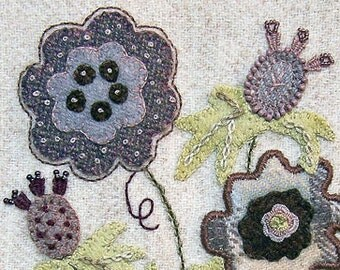 Jacobean Flower Wool Applique, Hand Embroidery / Pattern / Jac 018