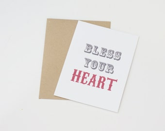Bless Your Heart Modern Greeting Card
