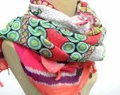 Boho Shawl,  Geometric scarf ,shawl,Big Shawl with tassel and star Charm,colorful scarf,