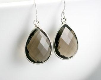 Smokey Quartz Earrings - Bezel Set Gemstone Earrings - Sterling Silver Earrings - Large Gemstone Drops - Simple Minimialist Earrings