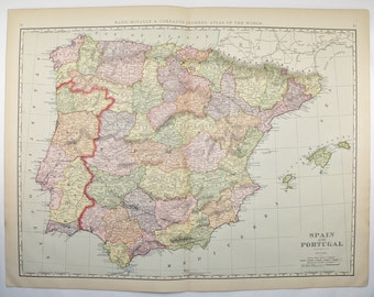 1901 Large Map Spain Portugal Map, Original Antique Spain Map, Wedding Gift for Couple, Spanish Decor Gift for Office, Spain Gift for Friend