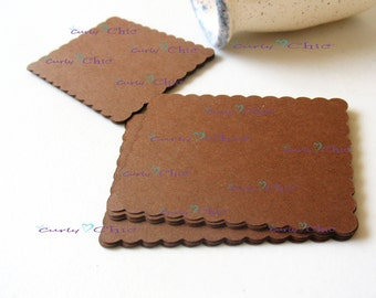 """30 Scalloped Rectangle Tags Size 3.50""""x2.25"""" -Paper Scalloped Rectangle Labels -Paper die cuts -Scalloped Rectangle Paper Labels"""