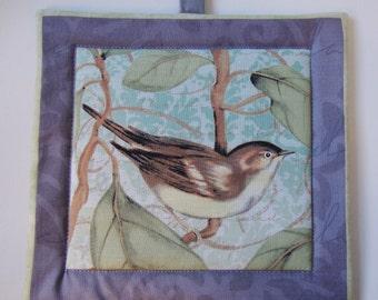 Bird print gray pot holders - set of 2