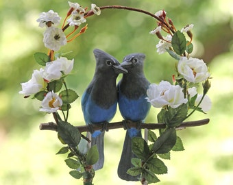 Steller's Jay Love Birds White Rose Arbor Wedding Cake Topper