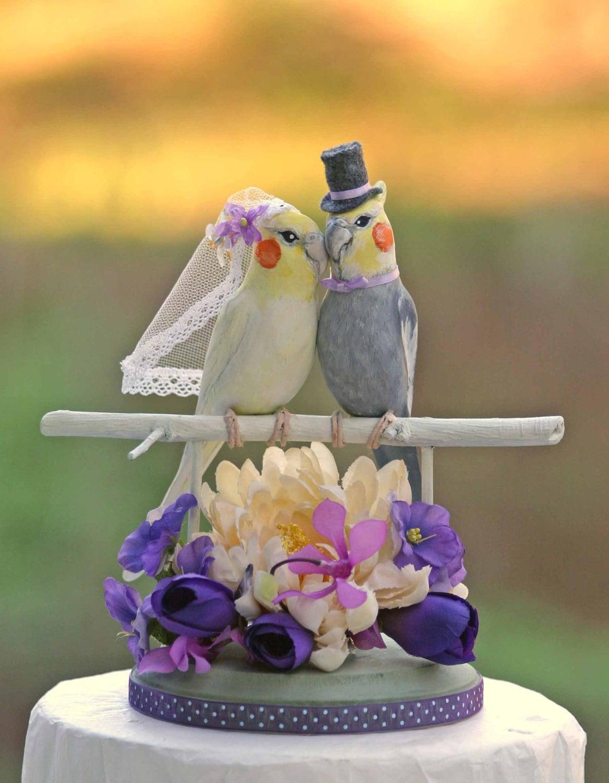 Cockatiel Love Birds Wedding Cake Topper