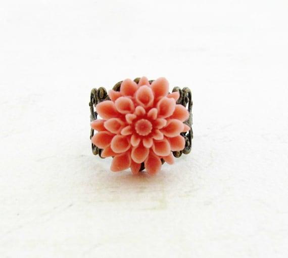 SALE Pink Coral Flower Ring Dahlia Flower Ring Filigree Ring Vintage Inspired Ring Bridesmaid Gift - Honeysuckle Dreams