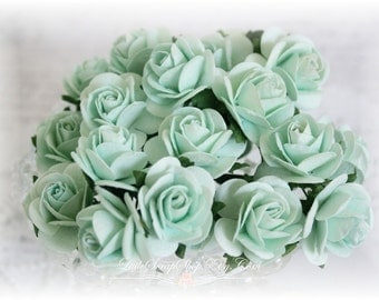 Mulberry Roses~Light Mint~ Set of 20 for Scrapbooking, Cardmaking, Altered Art, Wedding, Mini Album