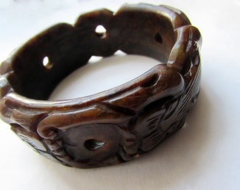 Vintage Abstract Carved Stone Chunky Bangle Dark Brown