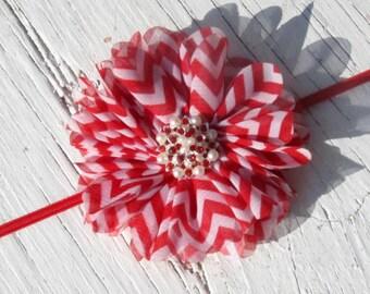 Girls Red and White Chevron Flower Headband- Baby Headband- Toddler Headband- Tween Headband