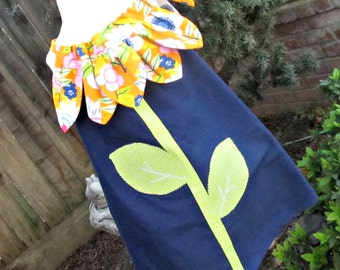 Girls Navy Blue and Orange Sunflower Pillowcase Dress- Toddler Sundress- Summer Dress- Sizes 2T Ready To Ship