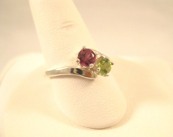 Green Peridot and Purple Garnet Double Stone Ring