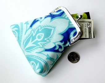 CLEARANCE SALE 50% OFF...aqua periwinkle turquoise credit card purse...internal key ring...cash coin purse...Swarovski crystal frame detail