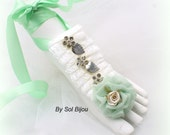 Barefoot Sandals, Ivory, Mint Green, Beach Wedding, Sandals, Bridal, Flats, Foot Jewelry, Beach, Crystals, Lace, Elegant, Destination