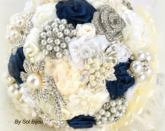Brooch Bouquet, Navy Blue, Ivory, Cream, White, Wedding Bouquet, Vintage Wedding, Bridal Bouquet, Lace Bouquet, Jeweled, Pearls, Crystals