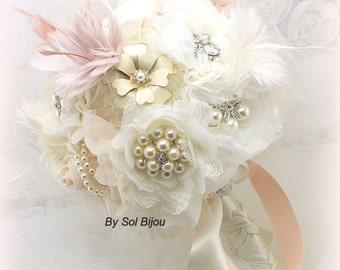 Brooch Bouquet, Blush, Pink, Ivory, Gatsby Wedding, Elegant, Vintage Wedding, Feather Bouquet, Wedding Bouquet, Pearls, Lace, Crystals,