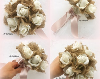Bouquets, Rustic Bouquets, Simple, Bridesmaids, Maid of Honor, Burlap, Lace, Ivory, Wedding, Flower Girl, Cream, Rose, Satin, Elegant