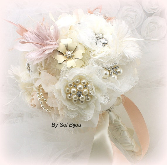 Brooch Bouquet, Blush, Pink, Ivory, Gatsby Wedding, Elegant, Vintage Wedding, Feather Bouquet, Wedding Bouquet, Pearls, Lace, Crystals,
