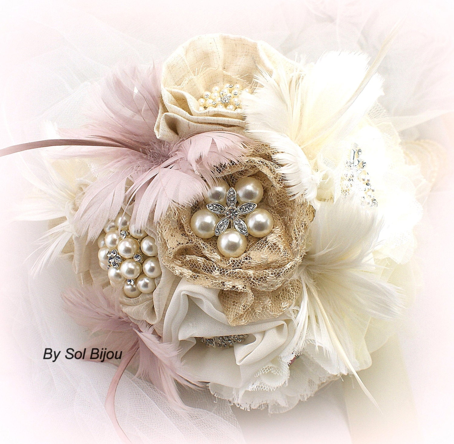 Wedding Accessories Ideas Brooch Bouquet Shabby Chic Rustic Bouquet In Ivory Champagne Tan Beige And Blush With Linen Lace Pearls Burlap And Feathers