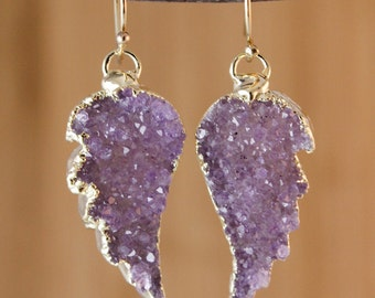50% OFF SALE - Purple Agate Druzy Angel Wings Earrings - Choose Your Pair - 14K GF Hooks