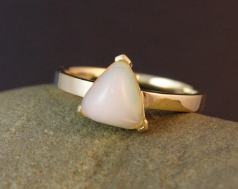 Milky White Australian Opal Ring - Pyramid Ring - Birthstone Ring