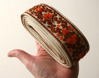 Orange Brown Vintage Upholstery Ribbon Trim Floral Scroll Design NARROW