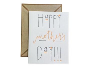 Happy Mothers Day letterpress card - single