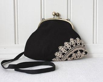 clutch with vintage lace doily, black & linen