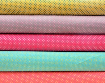 Quilt Half Yard Cotton Scandinavian Small Polka Dot in 5 Color tones