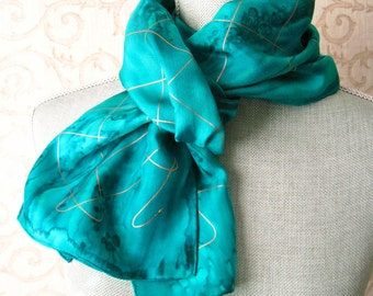Silk Scarf Handpainted in Emerald with Gold