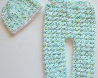 Crocheted Newborn Pants and Hat Set, Green and Blue