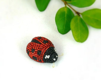 Ladybug Figurine Miniature Beaded Spring Decor Animal Totem *READY TO SHIP