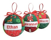 Three Personalized Christmas Ornaments, Set of 3 Handmade Gifts for Children or Adults Fabric Quilted Holiday Decor by CraftCrazy4U
