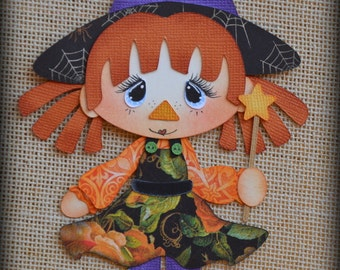 Witch Raggedy Premade Halloween Scrapbooking Embellishment Paper Piecing set