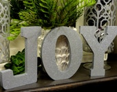 Christmas Mantle Lettering JOY Holiday Silver Glitter Table Bookcase Entry Decor