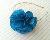 Cerulean Blue Ruffle Flower Headband - Lightweight and Comfortable