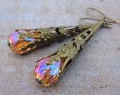 Rustic Bohemian Earrings, Peach Crystals, Victorian Vintage, Filigree Cones, Dangle Drop, Antique, Boho Hippie Hippy Gypsy