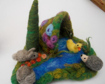 Waldorf  Miniature Play scape Play mat with a cave,fir tree,river,rocks,flowers, a duck,hedgehog and rabbit. Needle Felted Play items