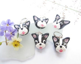 Boston Terrier Stitch Markers polymer clay knit dog charms, stitch markers, knitting accessories, boston terrier gifts cute miniature animal