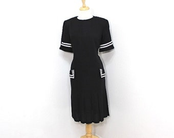 Vintage 80s Sailor Dress Black and White Pleated Drop Waist Noutical Dress Large  XLarge