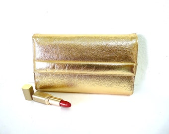 Vintage 1960s Gold Leather Clutch by Berne Evening Organizer Cosmetic Purse