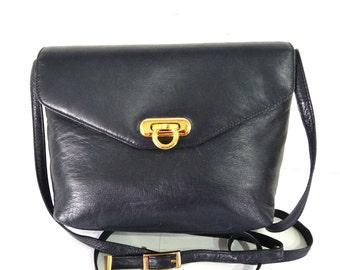 Vintage Navy Genuine Leather bag Hobo Crossbody satchel purse