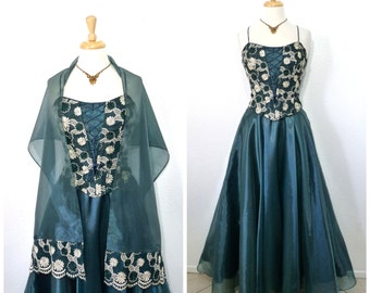 Emerald Green Dress with Shawl Sweetheart Golden Embroidered Corset Dress Vintage 80s Prom Party Full Skirt Dress Medium