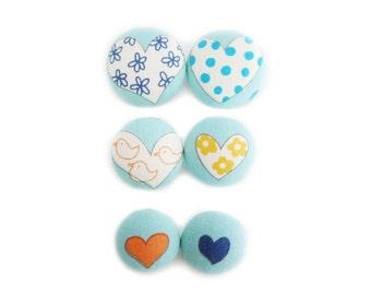 6 Fabric Buttons Set - Vintage Hearts on Dusty Blue LAST SET