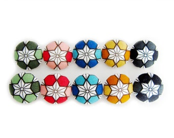 Sewing Buttons / Fabric Buttons - 10 Medium Fabric Buttons Set - Asanoha in Rainbow Colors - Fabric Covered Buttons
